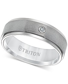 Triton Men's Titanium Ring, 7mm Diamond Accent Wedding Band
