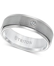 Triton Men's Titanium Ring, 7mm Diamond Accent Wedding Band