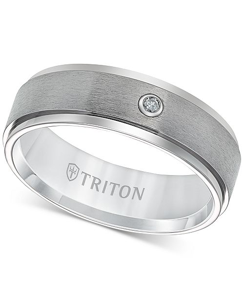Triton Men S Titanium Ring 7mm Diamond Accent Wedding Band