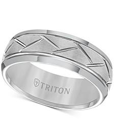 Men's Tungsten Carbide 8mm Diagonal Accent Ring