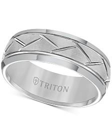 Triton Men's Tungsten Carbide 8mm Diagonal Accent Ring