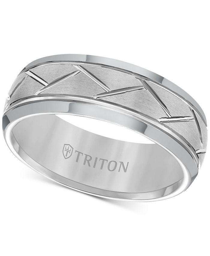 Triton - Tungsten Carbide 8mm Diagonal Accent Ring