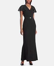 Lauren Ralph Lauren Cape Chiffon Gown