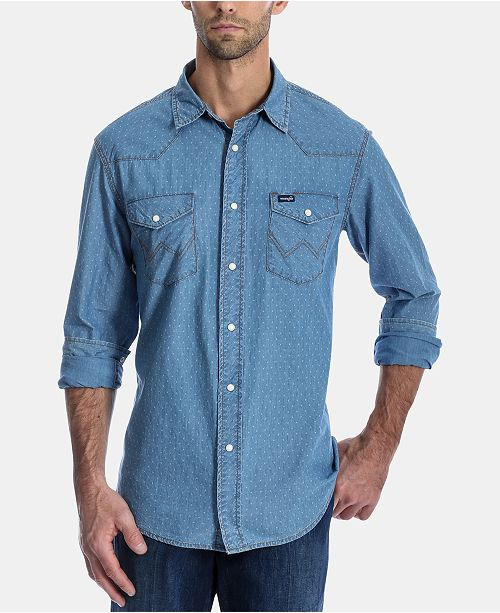Wrangler Men's Authentic Regular-Fit Dobby Western Shirt