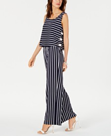 NY Collection Petite Striped Lace-Up Jumpsuit