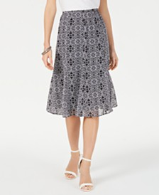 NY Collection Petite Printed Midi Skirt