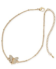 Gold-Tone Pavé Butterfly Ankle Bracelet, Created for Macy's