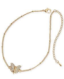 Thalia Sodi Gold-Tone Pavé Butterfly Ankle Bracelet, Created for Macy's