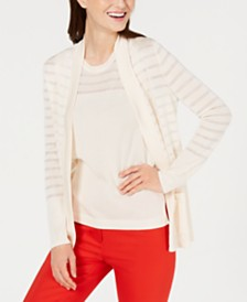Anne Klein Sheer-Stripe Cardigan