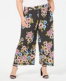 Plus Size Printed Wide-Leg Pants