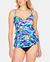 6b45a21feb Swim Solutions Winning Streak Tiered Tummy-Control One-Piece Swimsuit,  Created for Macy's