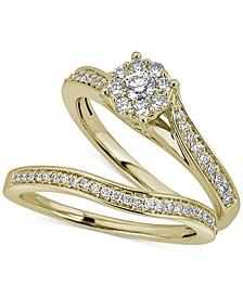 Diamond Halo & Pavé Bridal Set (1/2 ct. t.w.) in 14k White Gold
