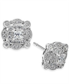 Diamond Vintage-Inspired Halo Stud Earrings (1/2 ct. t.w.) in 14k White Gold