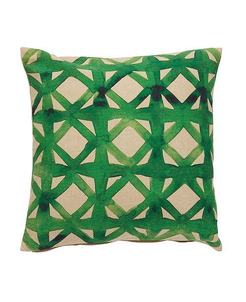 """Jaipur Living Emerald Green/Beige Trellis Down Throw Pillow 18"""""""