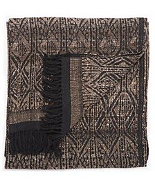 "Pyrmids Black/ Cream Geometric Throw 52"" X 68"""