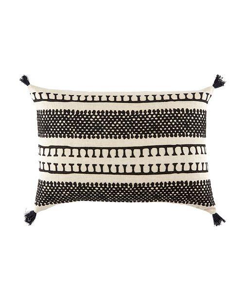 "Jaipur Living Nikki Chu By Fala Cream/Black Geometric Down Throw Pillow 16"" x 24"""
