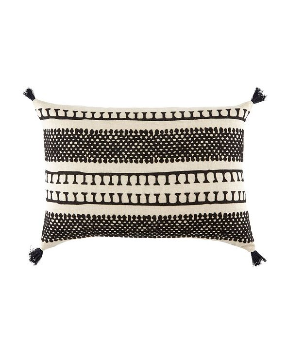 "Jaipur Living Nikki Chu By Fala Cream/Black Geometric Down Throw Pillow 16"" x 24"""