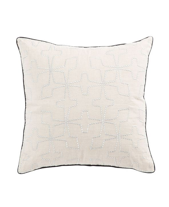 "Jaipur Living Nikki Chu By Greta Cream/Silver Geometric Poly Throw Pillow 22"""