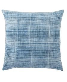 """Morgan Handmade Soild Blue/White Poly Throw Pillow 22"""""""