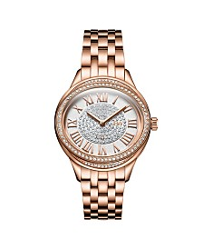 JBW Women's Plaza Oval Diamond 18K Rose Gold Plated Watch