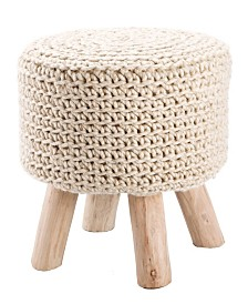 Jaipur Living Montana Knitted Cream Stool
