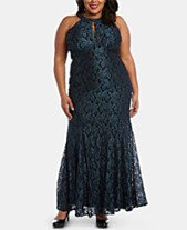 7f34e60bc199 Nightway Plus Size Glitter Lace Gown