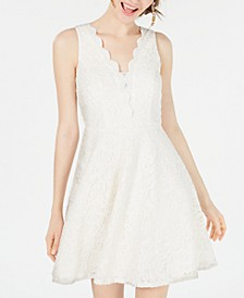 Juniors' V-Neck Glitter Lace Dress