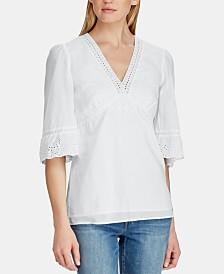 Lauren Ralph Lauren Lace Cotton Top, Created for Macy's