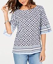 f5f7f4e4d Charter Club Border-Print Flared-Sleeve Top, Created for Macy's