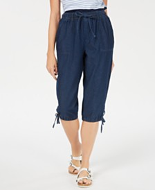 Karen Scott Drawstring Denim Cotton Capri Pants, Created for Macy's