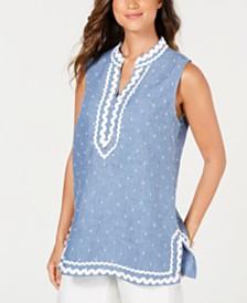 Charter Club Ric-Rac-Trim Clipped-Dot Linen Tunic, Created for Macy's