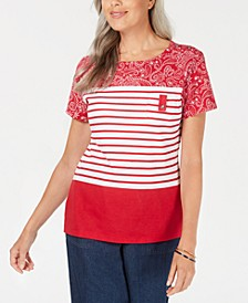 Bandana Striped Scoop-Neck Top, Created for Macy's