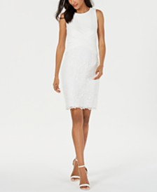 Taylor Petite Sleeveless Lace Sheath Dress
