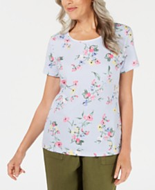 Karen Scott Petite Lisbon Luxe Floral Striped Top, Created for Macy's