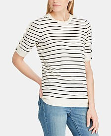 Lauren Ralph Lauren Striped Button-Sleeve Sweater