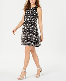 Calvin Klein Floral-Embroidered Trapeze Dress