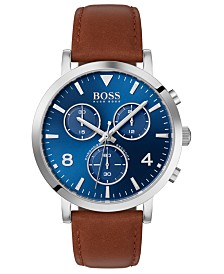 BOSS Men's Chronograph Spirit Brown Leather Strap Watch 41mm
