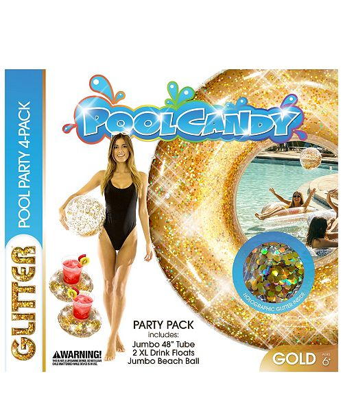 "PoolCandy Pool Candy Glitter Pool Party 4 Pack- 1 - 48"" Tube, 2 - drink floats and 1 - Beach Ball- Gold"