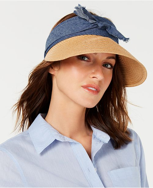 INC International Concepts I.N.C. Distressed-Denim Visor, Created for Macy's
