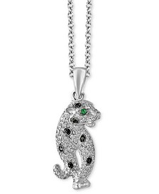 "EFFY® Diamond (1/4 ct. t.w.) & Emerald Accent Panther 18"" Pendant Necklace in 14k White Gold"