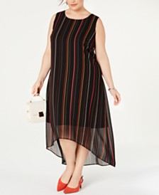 Alfani Plus Size Striped High-Low Dress, Created for Macy's