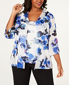 Plus Size Printed Jacket & Sleeveless Top