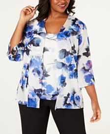 Alex Evenings Plus Size Printed Jacket & Sleeveless Top