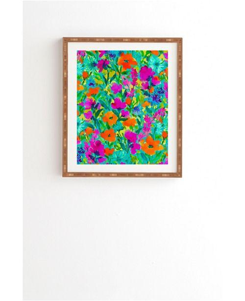 Deny Designs Wild Garden Teal Framed Wall Art