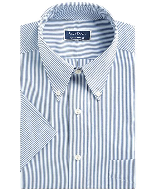 Club Room Men's Classic/Regular Fit Stretch Bengal Stripe Short Sleeve Dress Shirt, Created for Macy's