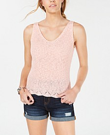 Juniors' Sleeveless Open-Knit Top