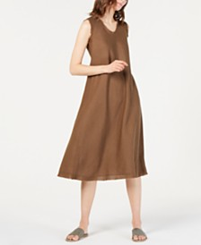 Eileen Fisher Organic Linen Unfinished-Edge Dress
