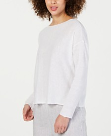 Eileen Fisher Scoop-Neck Long-Sleeve Top, Regular & Petite