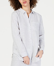Eileen Fisher Linen Striped Classic Collared Shirt, Regular & Petite