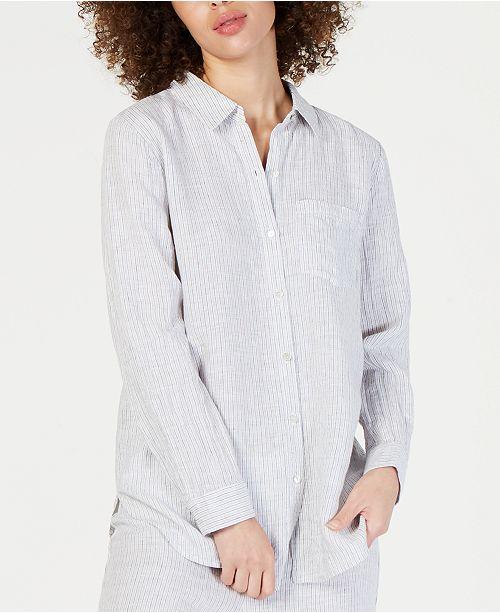 Eileen Fisher Linen Striped Classic Collared Shirt, Regular & Petite